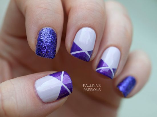 Purple and white striped nail art - 37 Amazing Purple Nail Designs Nail Design Ideaz
