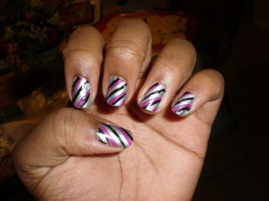 Purple black and silver striped nail art - 37 Amazing Purple Nail Designs Nail Design Ideaz