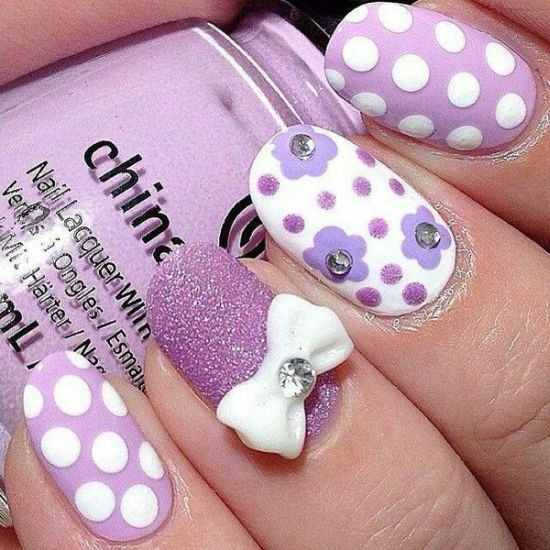 Purple glitter nail art with bows and polka dots - 37 Amazing Purple Nail Designs Nail Design Ideaz