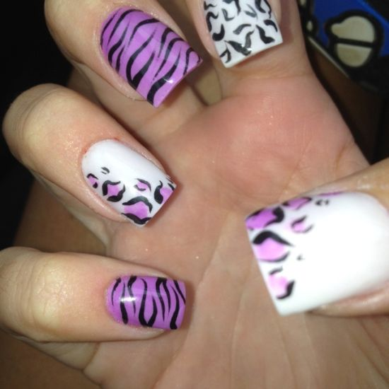 37 amazing purple nail designs nail design ideaz purple zebra and leopard nails prinsesfo Images