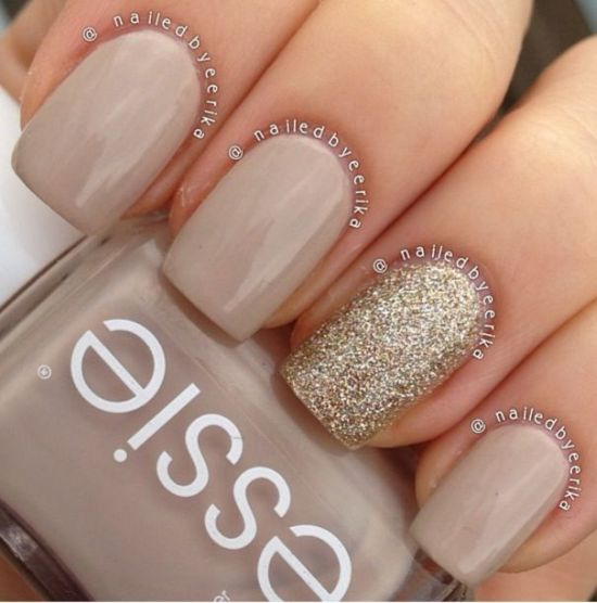 33 trendy glitter nail art design ideas to rock 2016 sparkly golden glitter nails with nude prinsesfo Choice Image