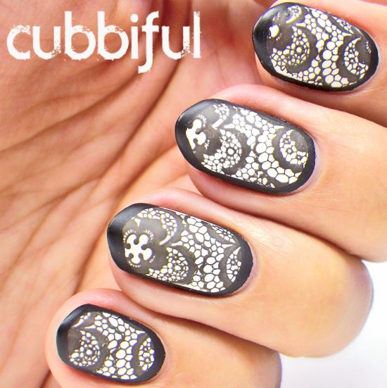 Stunning black and white matte stamping lace nail art