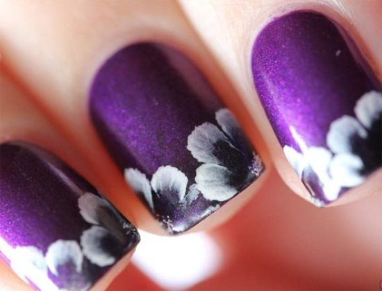 37 amazing purple nail designs nail design ideaz stunning flower designs on purple nails prinsesfo Images