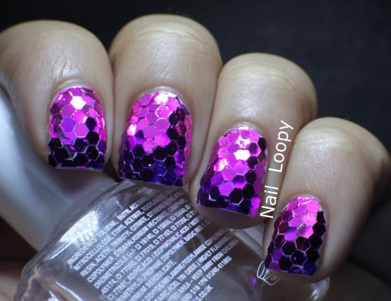 Stunning Pink And Purple Accented Glitter Nails
