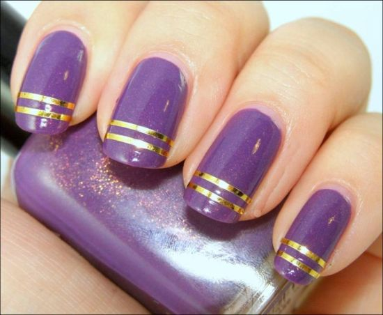37 amazing purple nail designs nail design ideaz stunning purple nail design with golden strips prinsesfo Gallery