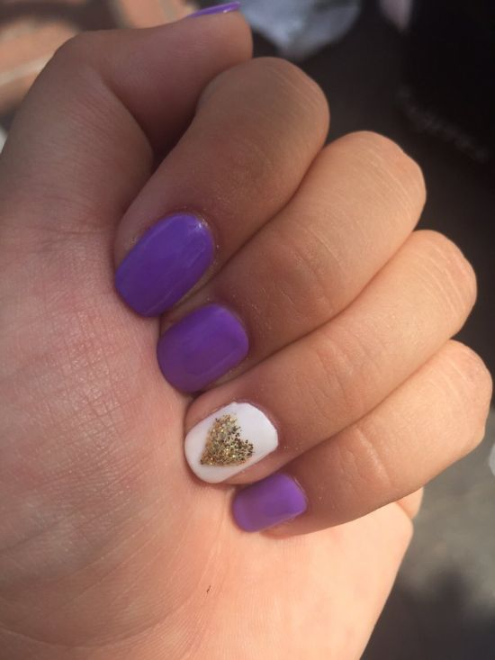37 amazing purple nail designs nail design ideaz stunning purple nails with golden glitter heart design prinsesfo Choice Image