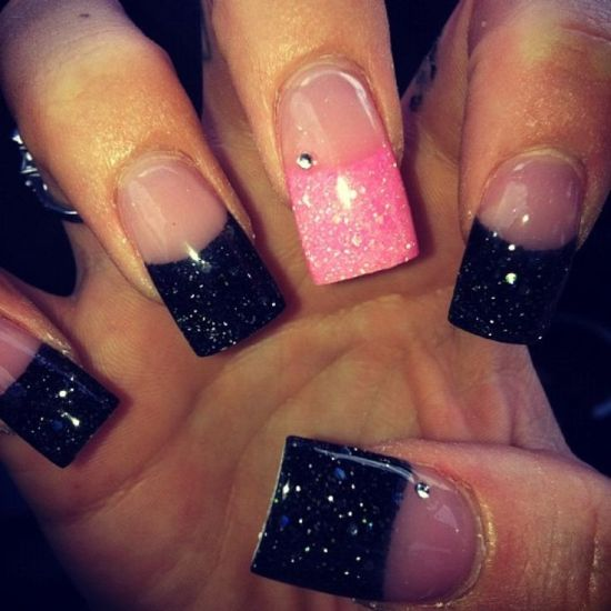 33 trendy glitter nail art design ideas to rock 2016 stylish pink and black glitter acrylic nail design prinsesfo Choice Image