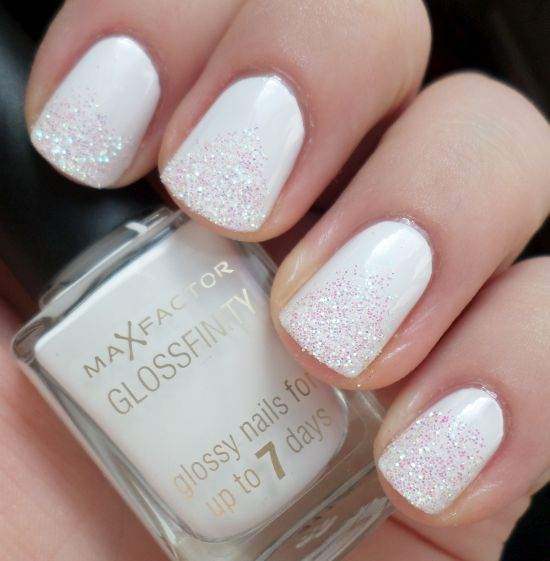White Nails With Light Pink Glitter