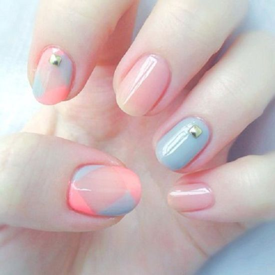 2016 pastel spring nails with gold studs - 39 Stylish Pastel Nail Designs For 2016 Nail Design Ideaz