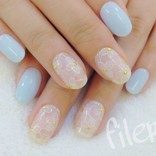 2016 white and blue floral pastel nails - 39 Stylish Pastel Nail Designs For 2016 Nail Design Ideaz