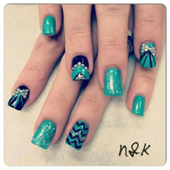 35 abstract stone and rhinestone nail art nail design ideaz abstract green nails with rhinestones prinsesfo Image collections
