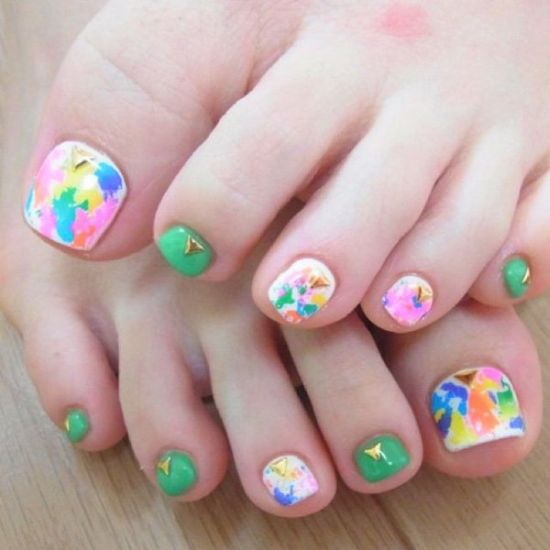 37 pedicure nail art designs that will blow your mind abstract toe nail design with watercolors prinsesfo Images