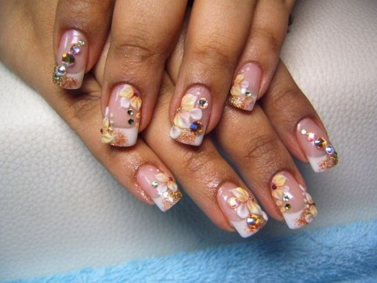 35 Abstract Stone And Rhinestone Nail Art Nail Design Ideaz