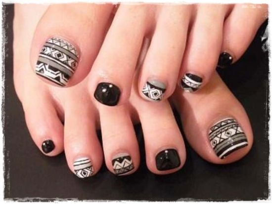 Amazing black tribal toe nail design - 37 Pedicure Nail Art Designs That Will Blow Your Mind