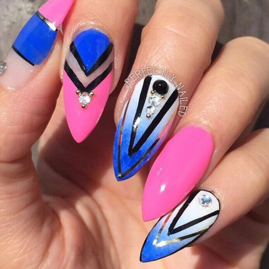 Beautiful Blue And Pink Abstract Nails With Stones