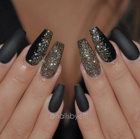Black And Glittery Coffin Nails