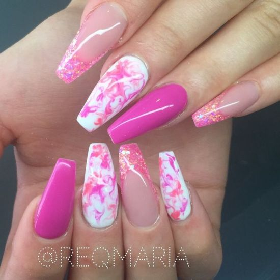 33 killer coffin nail designs nail design ideaz cute pink coffin nail design prinsesfo Gallery