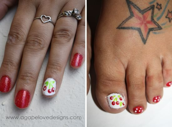 37 pedicure nail art designs that will blow your mind diy cherry nail art on toes prinsesfo Choice Image