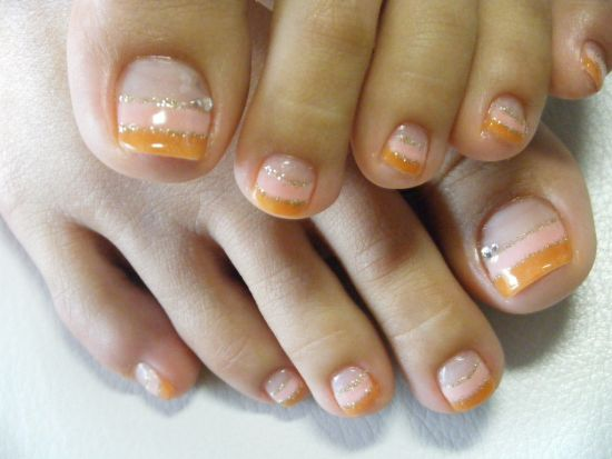 37 pedicure nail art designs that will blow your mind double french manicured toe nail art prinsesfo Gallery