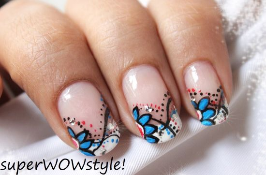 35 abstract stone and rhinestone nail art nail design ideaz floral abstract nails with rhinestones prinsesfo Image collections