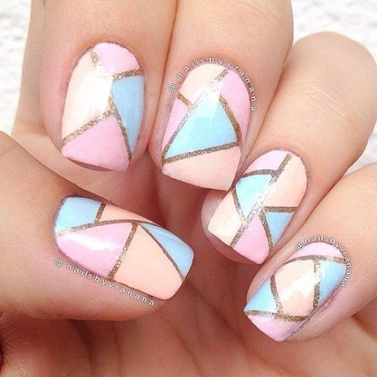 Geometric pastel nails for spring 2016 - 39 Stylish Pastel Nail Designs For 2016 Nail Design Ideaz