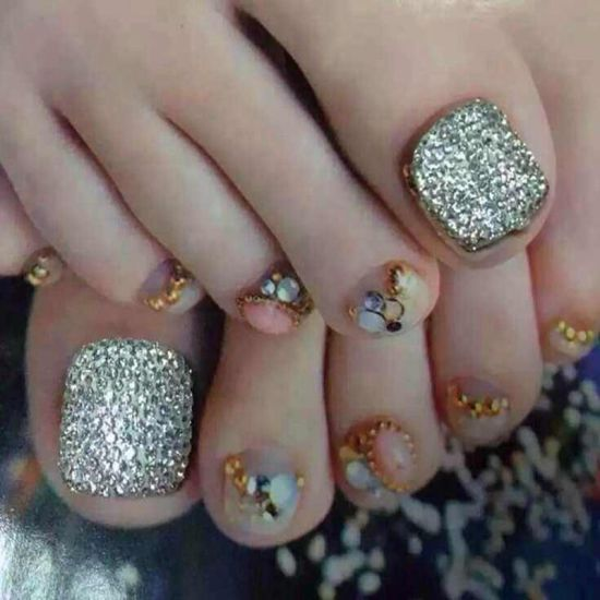 Glittery toe nail design with rhinestones - 37 Pedicure Nail Art Designs That Will Blow Your Mind