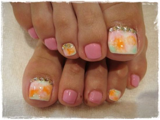 37 pedicure nail art designs that will blow your mind gorgeous pastel toe nail art design prinsesfo Images
