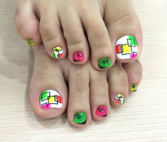 Pedicure Nail Art Designs Gorgeous Toe Nails With Colorful Square Patterns