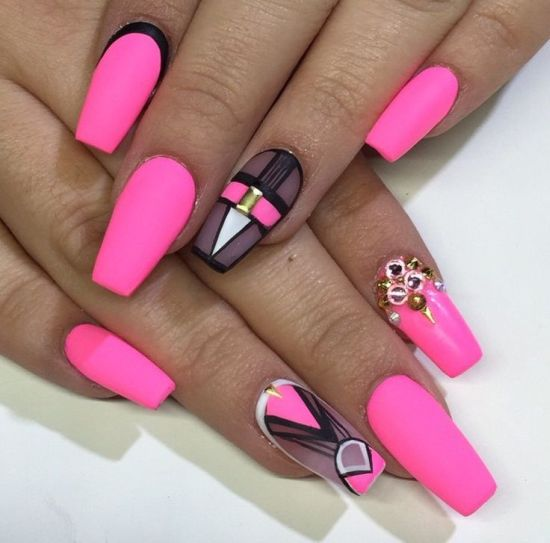 33 Killer Coffin Nail Designs | Nail Design Ideaz