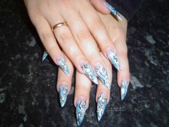 35 abstract stone and rhinestone nail art nail design ideaz light blue abstract nails with gel and rhinestones image credit nailart prinsesfo Image collections