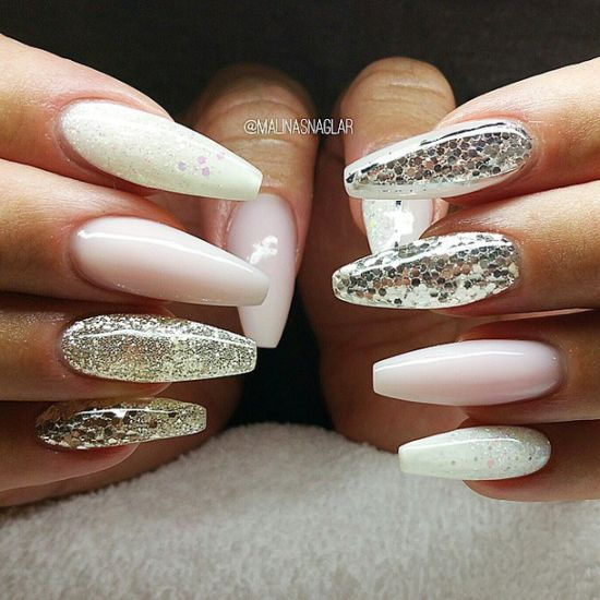 party silver coffin nails - Nail Design Ideas
