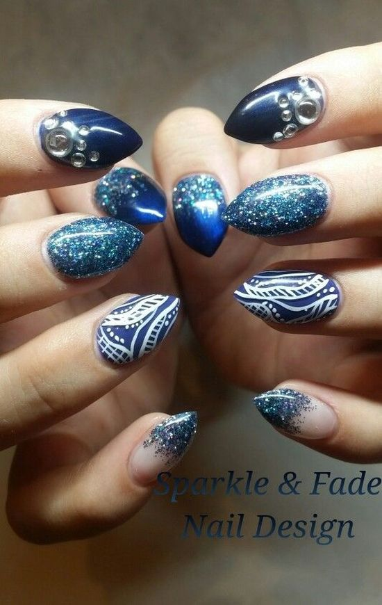 35 abstract stone and rhinestone nail art nail design ideaz peacock colored abstract nails with swarovski stones prinsesfo Choice Image