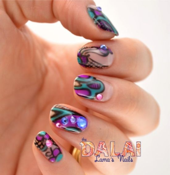 Pink And Blue Rhinestones On Abstract Nails
