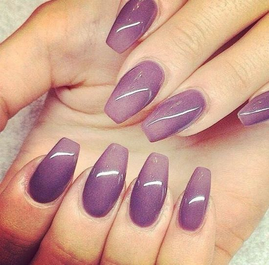 Purple ombre nail art on coffin nails - 33 Killer Coffin Nail Designs Nail Design Ideaz