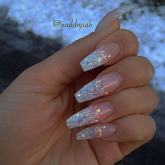 Silver Glitter Coffin Nails
