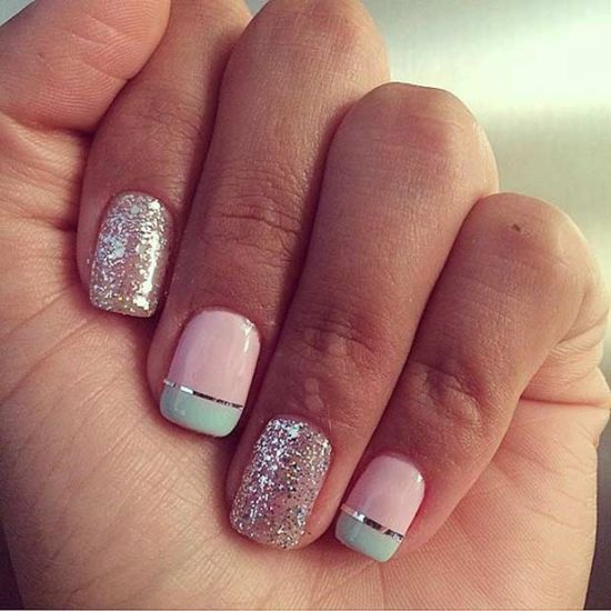 Sweet pastel and glitter nail design for 2016 - 39 Stylish Pastel Nail Designs For 2016 Nail Design Ideaz