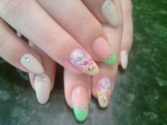 35 abstract stone and rhinestone nail art nail design ideaz trendy stone nails with abstract flower designs prinsesfo Choice Image