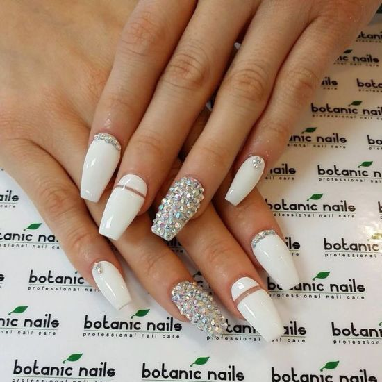 White And Silver Studded Coffin Nails