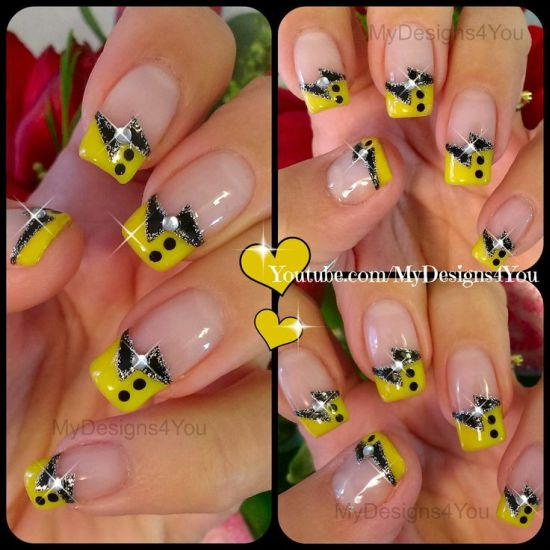 Yellow abstract nails with stone work - 35 Abstract Stone And Rhinestone Nail Art Nail Design Ideaz