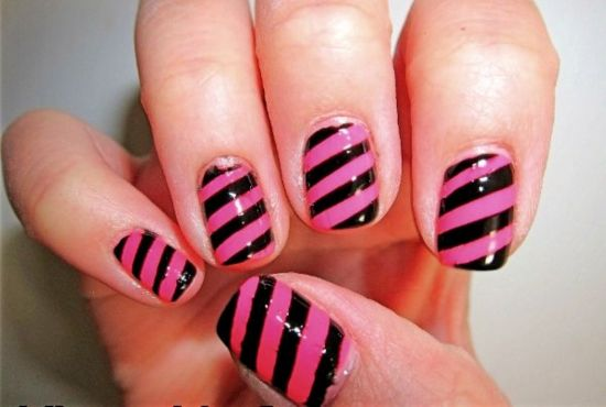 Cute black and pink striped nails for kids - 35 Super Cute And Easy Nail Designs For Kids Nail Design Ideaz