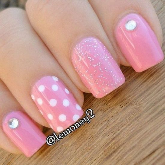 37 beautiful pink glitter nail art ideas nail design ideaz cute pink glitter nails with polka dots prinsesfo Images