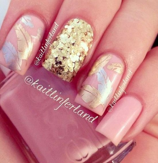 Glittery Pink And Golden Nail Art