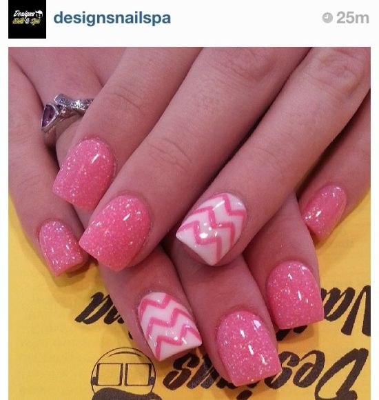 37 beautiful pink glitter nail art ideas nail design ideaz glittery pink nail art with chevron patterned accent nails prinsesfo Choice Image