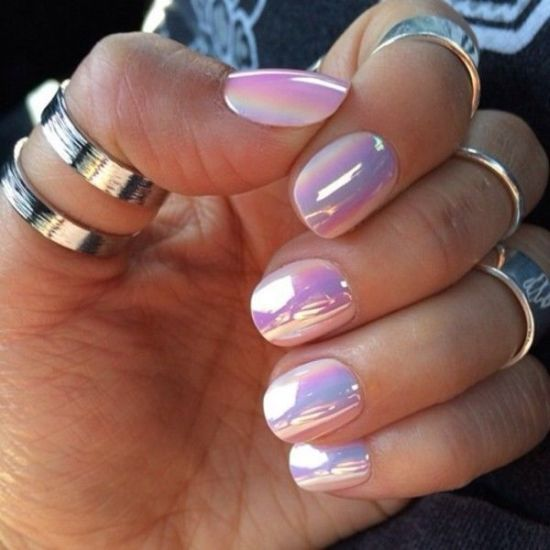 Gorgeous Pink Mirror Metallic Nails