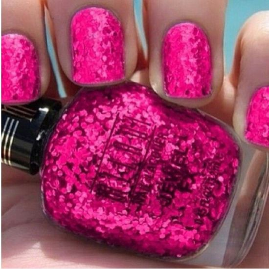 37 beautiful pink glitter nail art ideas nail design ideaz hot pink glitter nail art prinsesfo Images