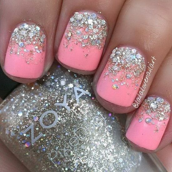 Neon pink nails with silver glitter - 37 Beautiful Pink Glitter Nail Art Ideas Nail Design Ideaz