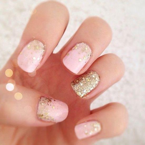 Pink and golden glittery nails - 37 Beautiful Pink Glitter Nail Art Ideas Nail Design Ideaz