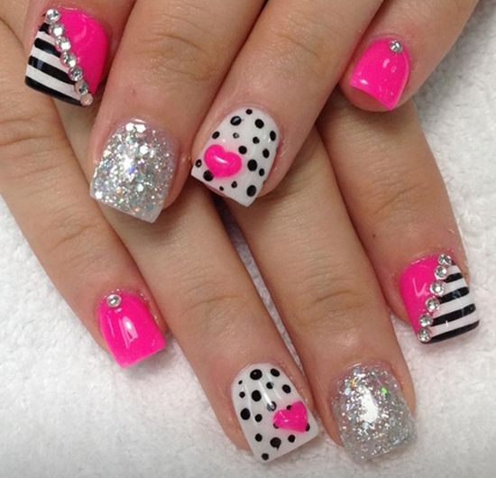 Pink and white nails with black polka dots and silver glitter - 37 Beautiful Pink Glitter Nail Art Ideas Nail Design Ideaz