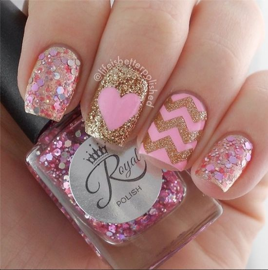 37 beautiful pink glitter nail art ideas nail design ideaz pink nail designs with glitter heart and chevron prinsesfo Images