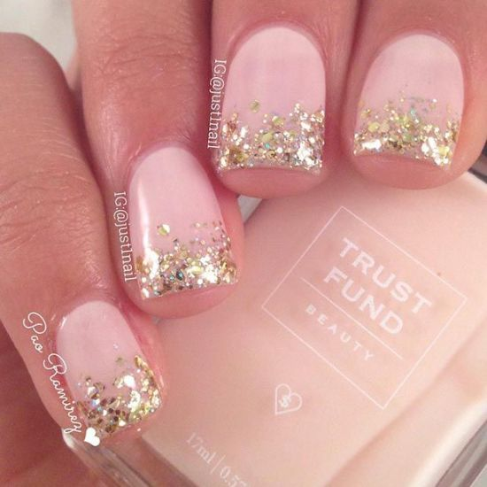 Pink nails with golden glitter art on tips - 37 Beautiful Pink Glitter Nail Art Ideas Nail Design Ideaz